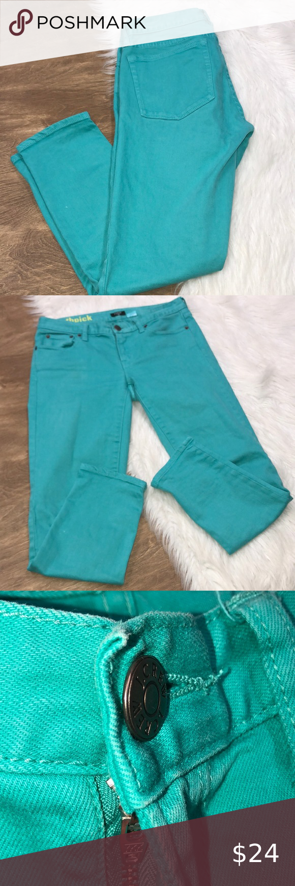 J Crew stretch toothpick size 27 turquoise jeans J