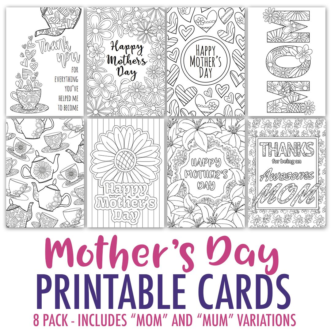 Mother S Day Coloring Cards