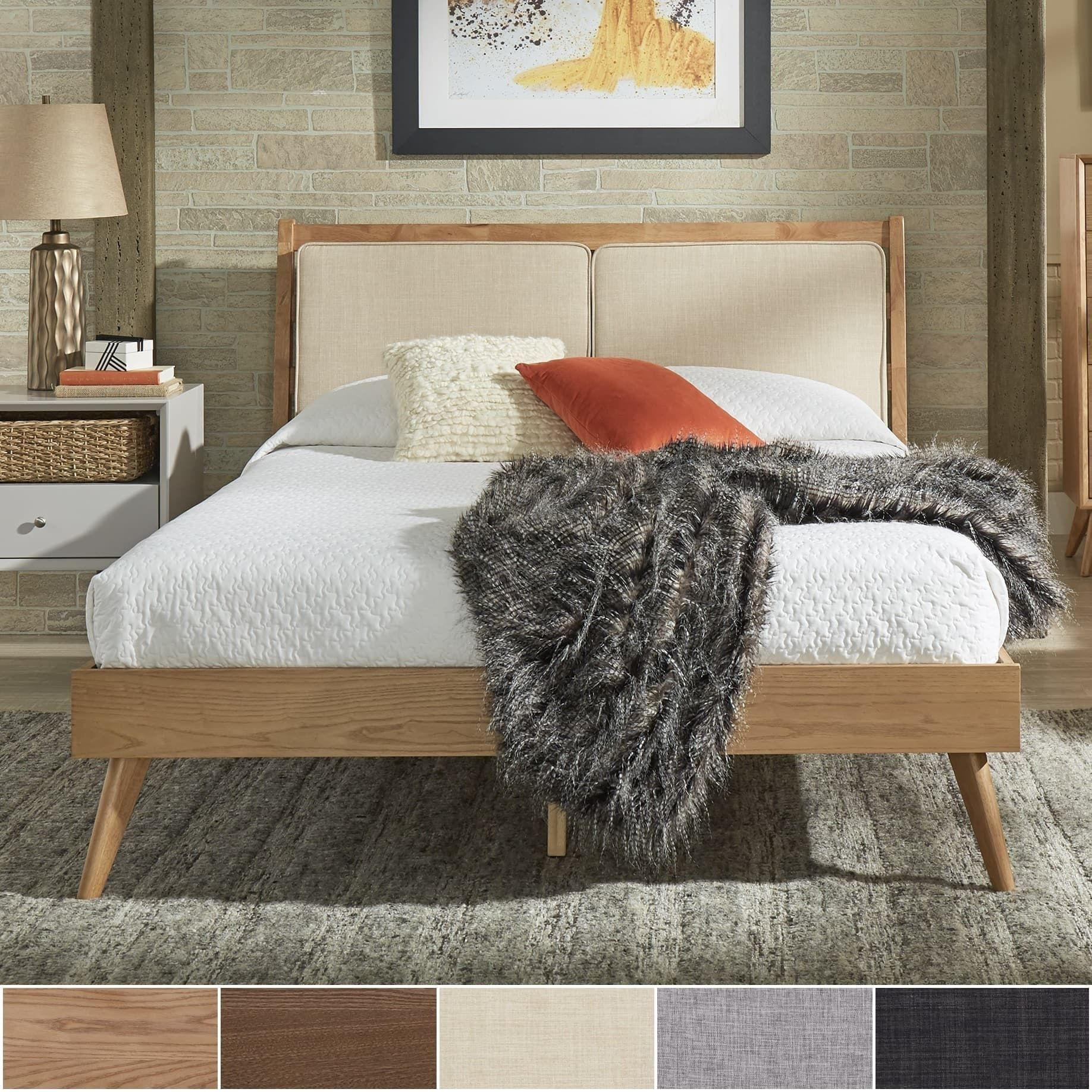 Sylvia Queen Size Mid-Century Dual Panel Linen and Wood Bed by iNSPIRE Q  Modern by iNSPIRE Q