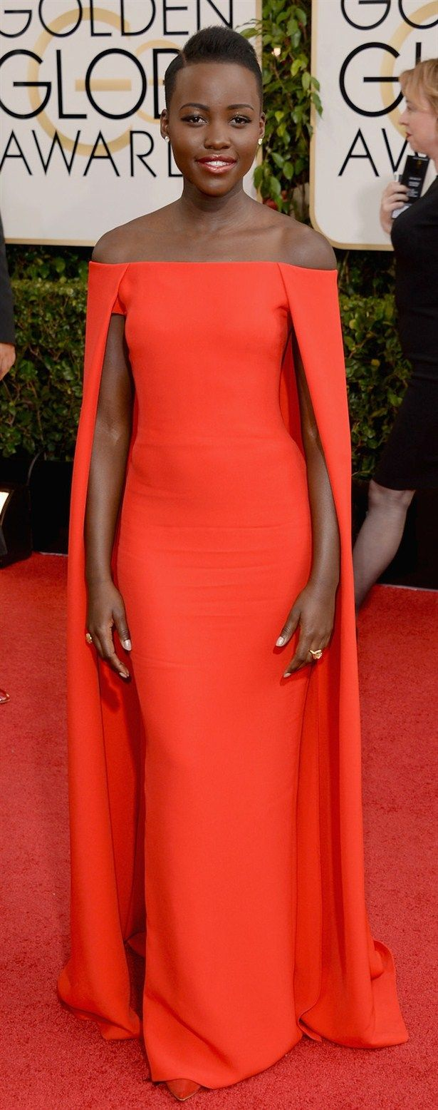 My fave outfits from golden globes 2014: Lupita Nyong'o... Love this Ralph Lauren dress, the colour is amazing