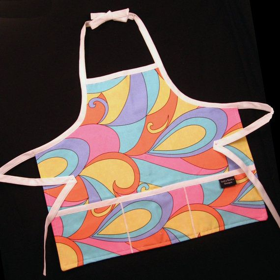 Girlie Swirl Kids Apron  Reversible    SALE   by luckyduckydesigns, $14.00