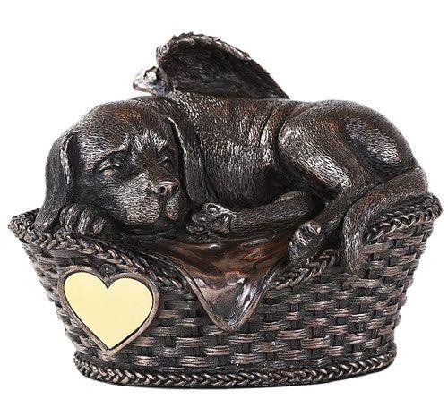 Resting Dog In Basket Memorial Urn Dog Cremation Pet Memorials Dog Urns