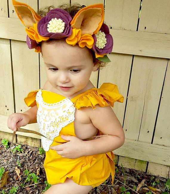 Deluxe fox ear flower crown - Burgundy and Mustard Yellow - fox ears headband - Megan