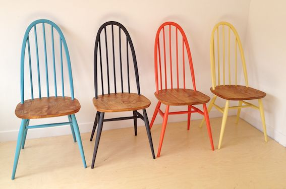 Ercol Painted Dining Chairs Timber Seat And Painted Top And