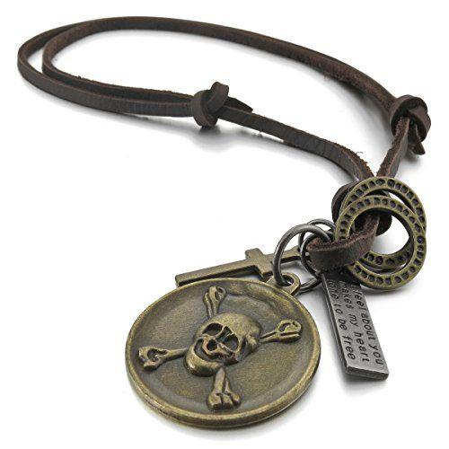 Vintage Echt Leder Unisex Halskette Kreuz Anhänger Lederkette Leather Necklace 2