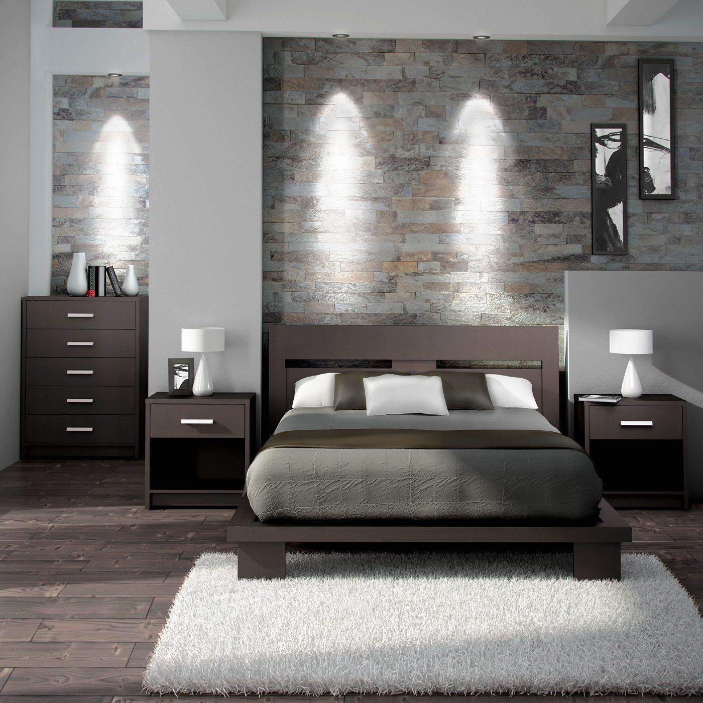 A simple and modern bedroom set in espresso brown. It's made with a 100%