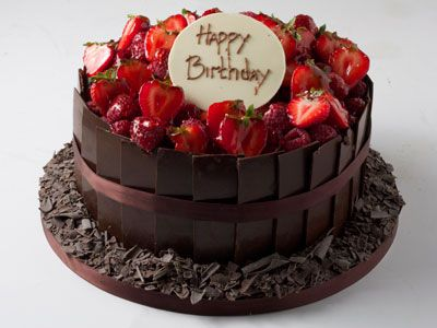 Awe Inspiring Chocolate Birthday Cake With Strawberries Decoration On Top With Funny Birthday Cards Online Overcheapnameinfo