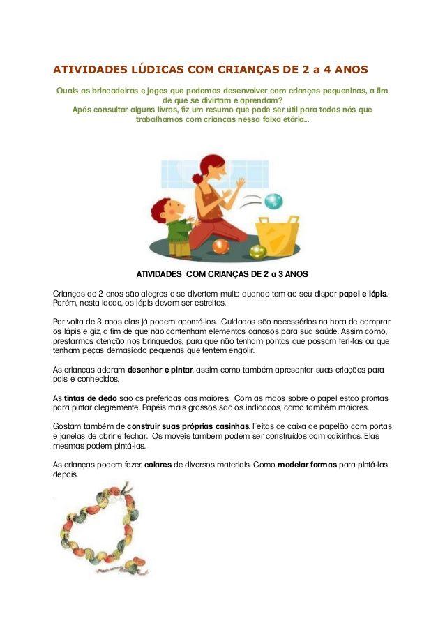 Atividades Ludicas Com Criancas De 2 A 4 Anos Em 2020 Com Imagens