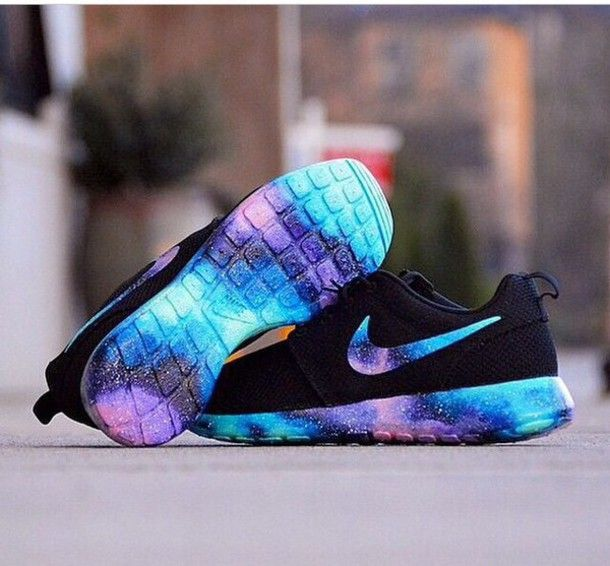 reputable site 4c756 dd36b shoes glaxay black nike running shoes nike roshe run cute shoes colorful  galaxy nike roshes roshe