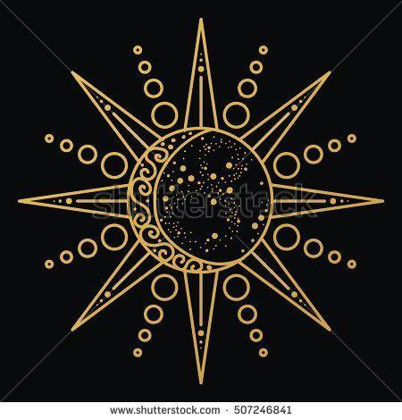 Sonne- und Mondlogo. Astronomisches Symbol. Astrol... - #Astrol #Astronomisches #logo #Mondlogo #Sonne #Symbol #und #astrologyaesthetic