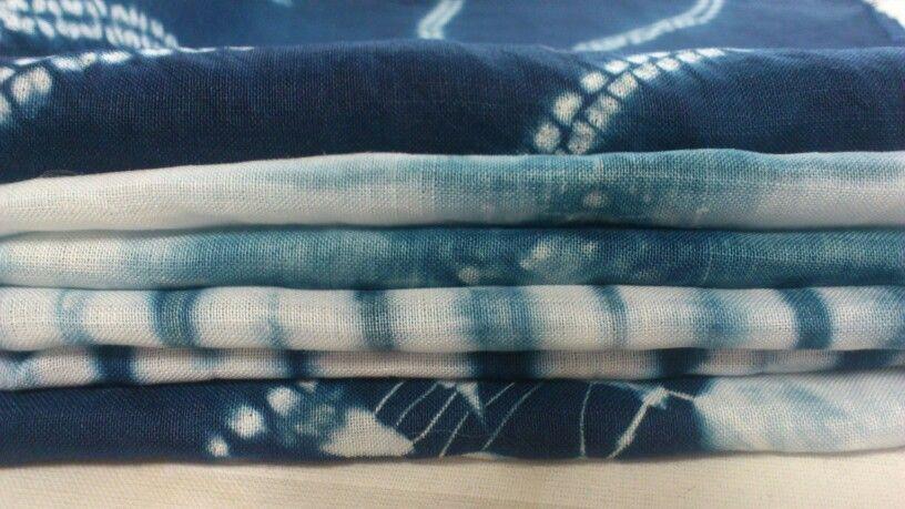 Indigo shibori linen pieces, hand made yesterday.