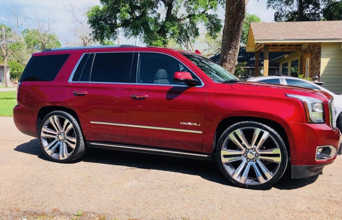 Red Yukon Denali Custom Wheels Jeep Suv Suv Trucks Yukon Denali