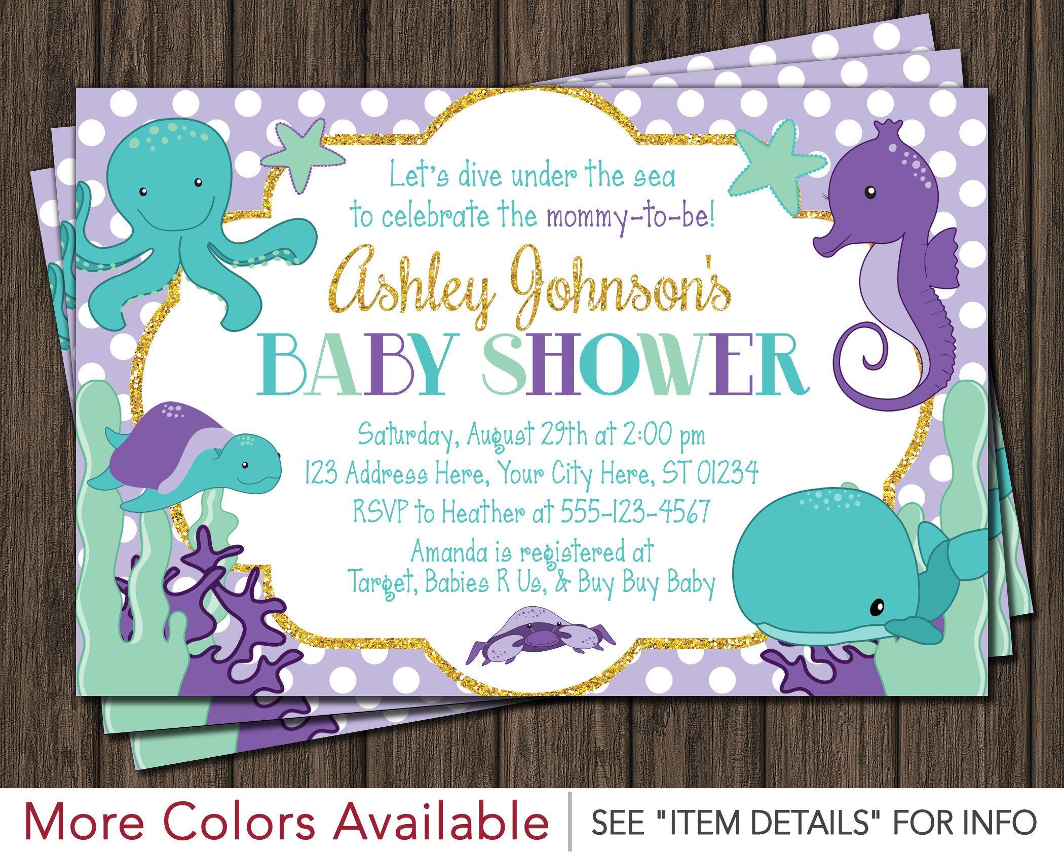 Under the Sea Baby Shower Invitation • Purple, Lavender, Turquoise ...