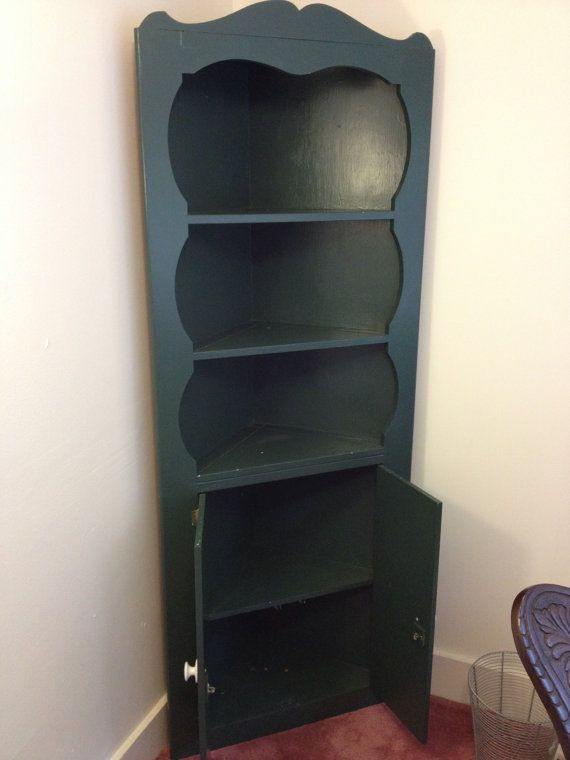 Antique 40s Vintage Corner Cabinet, Shelf, Cupboard, Shabby Chic Green Finish on Etsy, £221.60