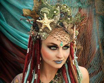 Made to Order!!!  Magical Whimsycal Fantasy Fairy Mermaid Queen Princess Sea Nymph  headdress headpiece crown costume tiara