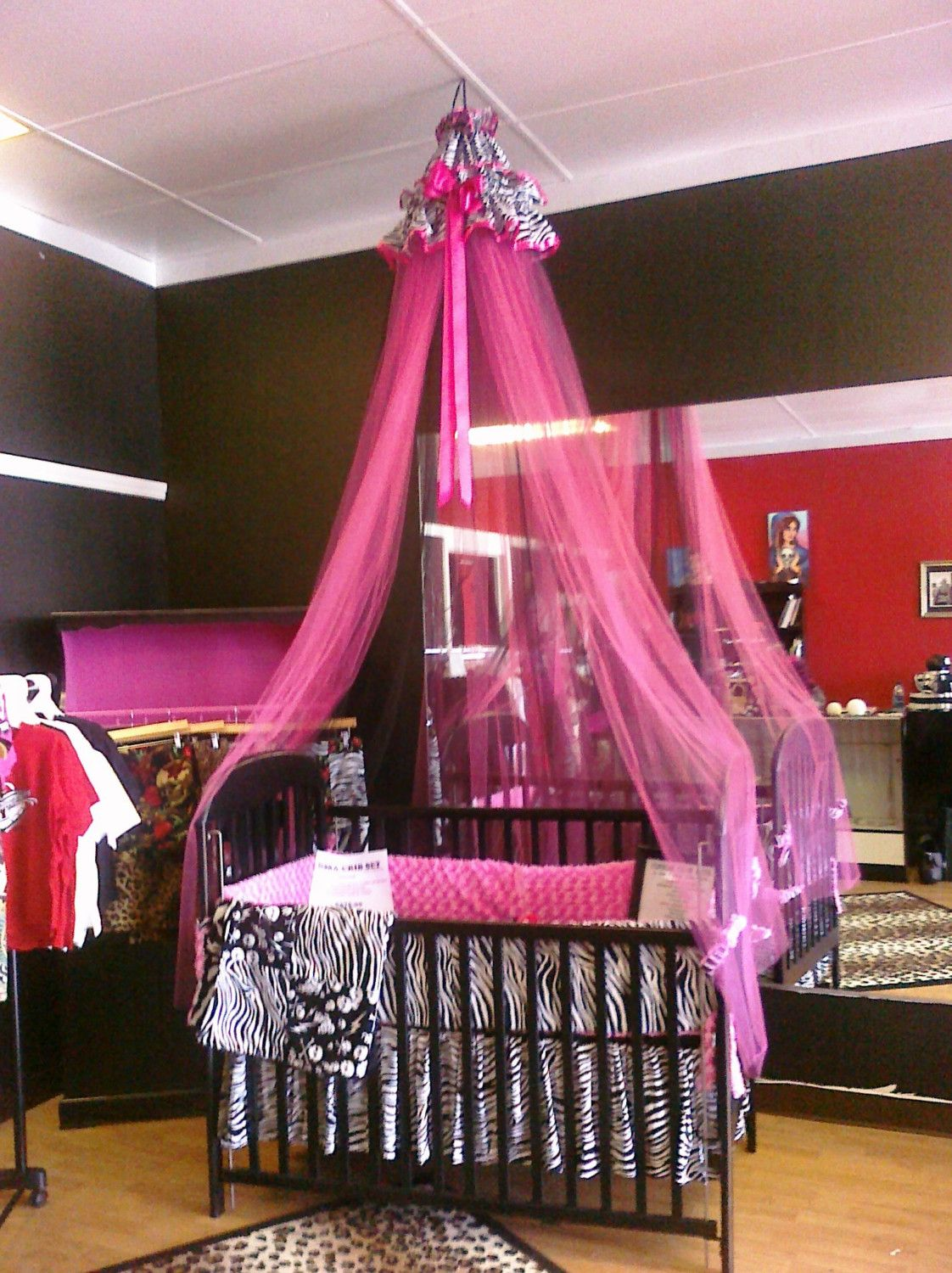 Punk Rock Zebra Canopy - Hot Pink and Black Glimmer Tulle - FREE SHIPPING. $119.95 : hot pink canopy - memphite.com