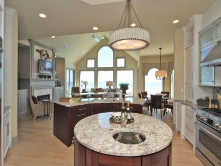 Large open kitchen with breakfast bar and ocean views | Home ...