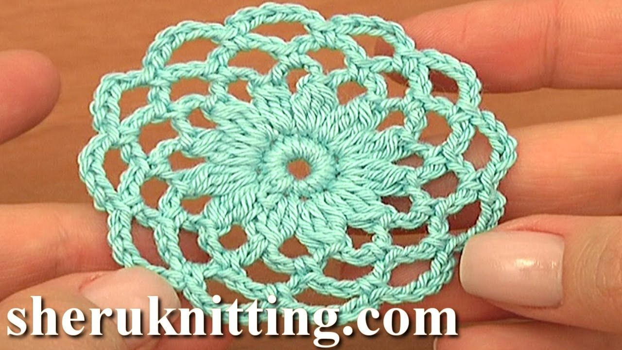 Crochet Patterns Circle : Crochet Round Motif Tutorial 10 Part 1 of 2 Crochet Circle ...