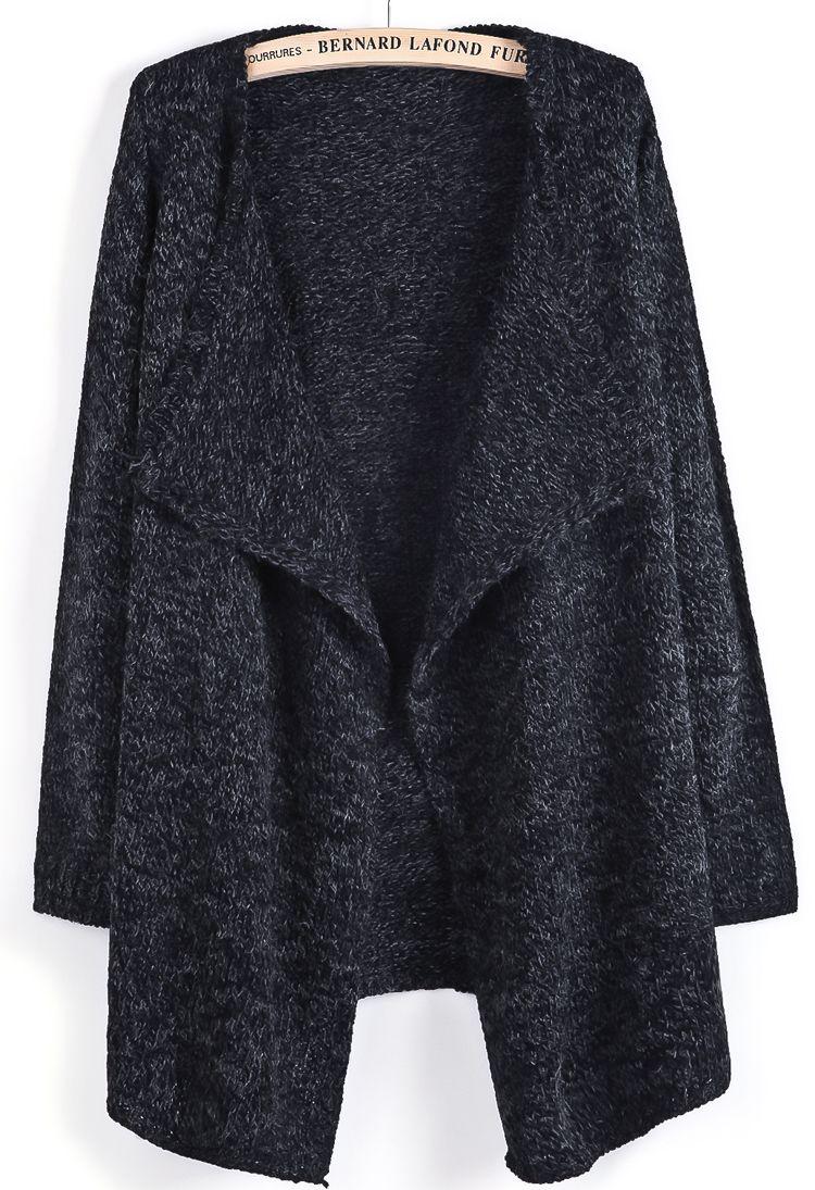 Black Long Sleeve Simple Design Cardigan US$52.46 | Sheinside ...