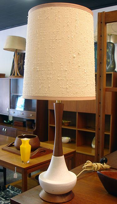 Danish Modern Table Lamp With Original Vintage Shade Mid