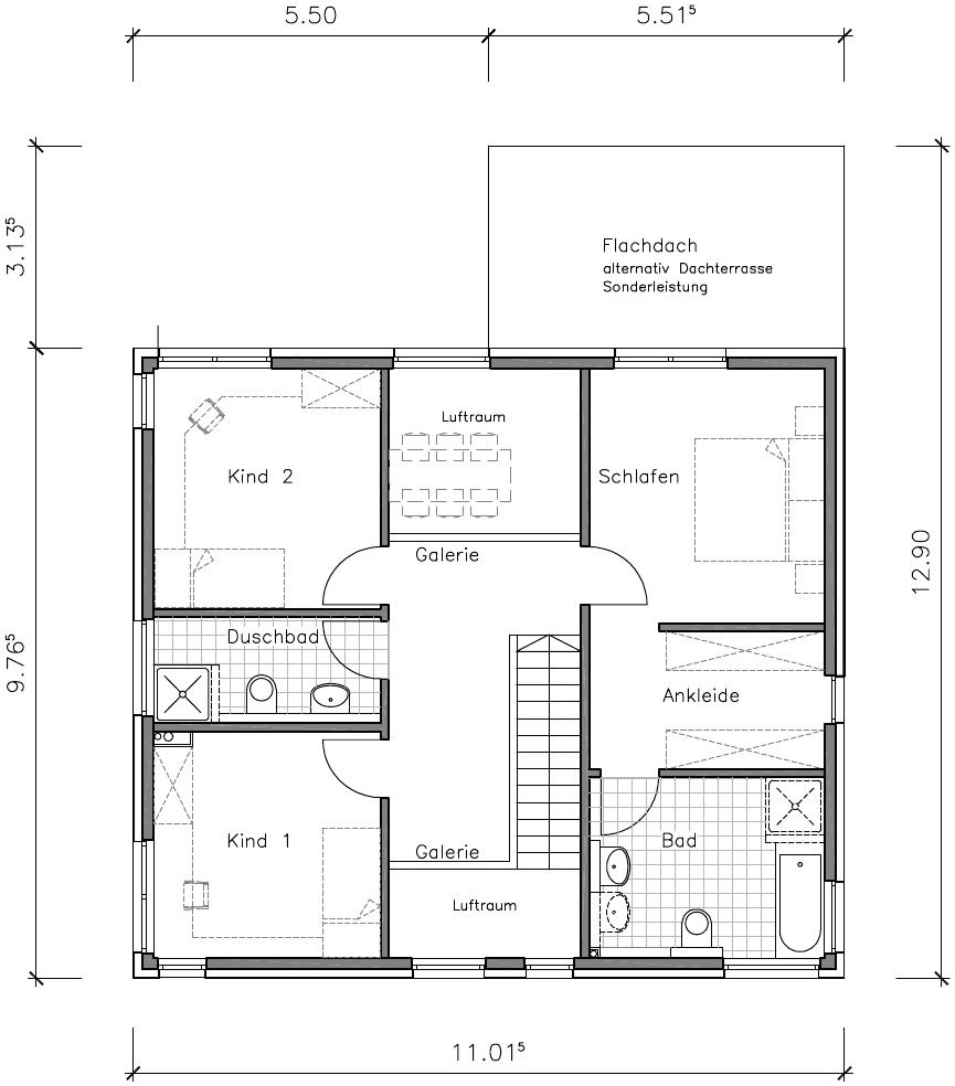 Flachdachhaus Grundriss Obergeschoss Flachdachhaus, Haus