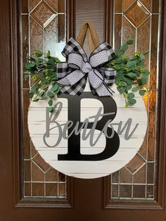 Personalized Shiplap Style Door Sign 3D Last Name Gray and |…