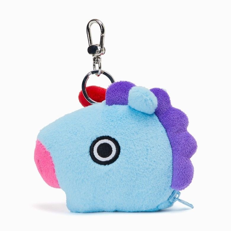 BT21 Official Merchandise by Line Friends Character Wappen Round Coin Purse Wallet Bag Charm with Zipper