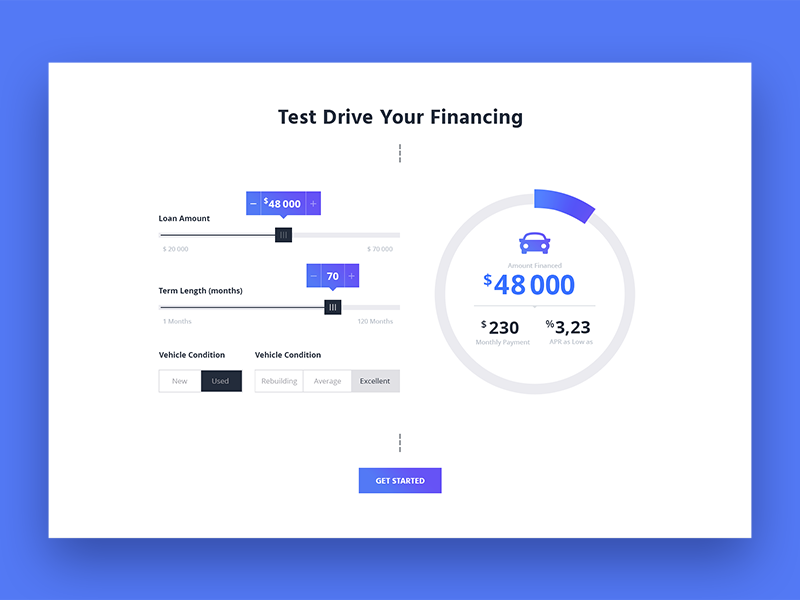 Car Loans Dizajn Prilozheniya Veb Dizajn Kalkulyator