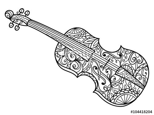 Violin Coloring Page For Adults Music Coloring Drawings Of
