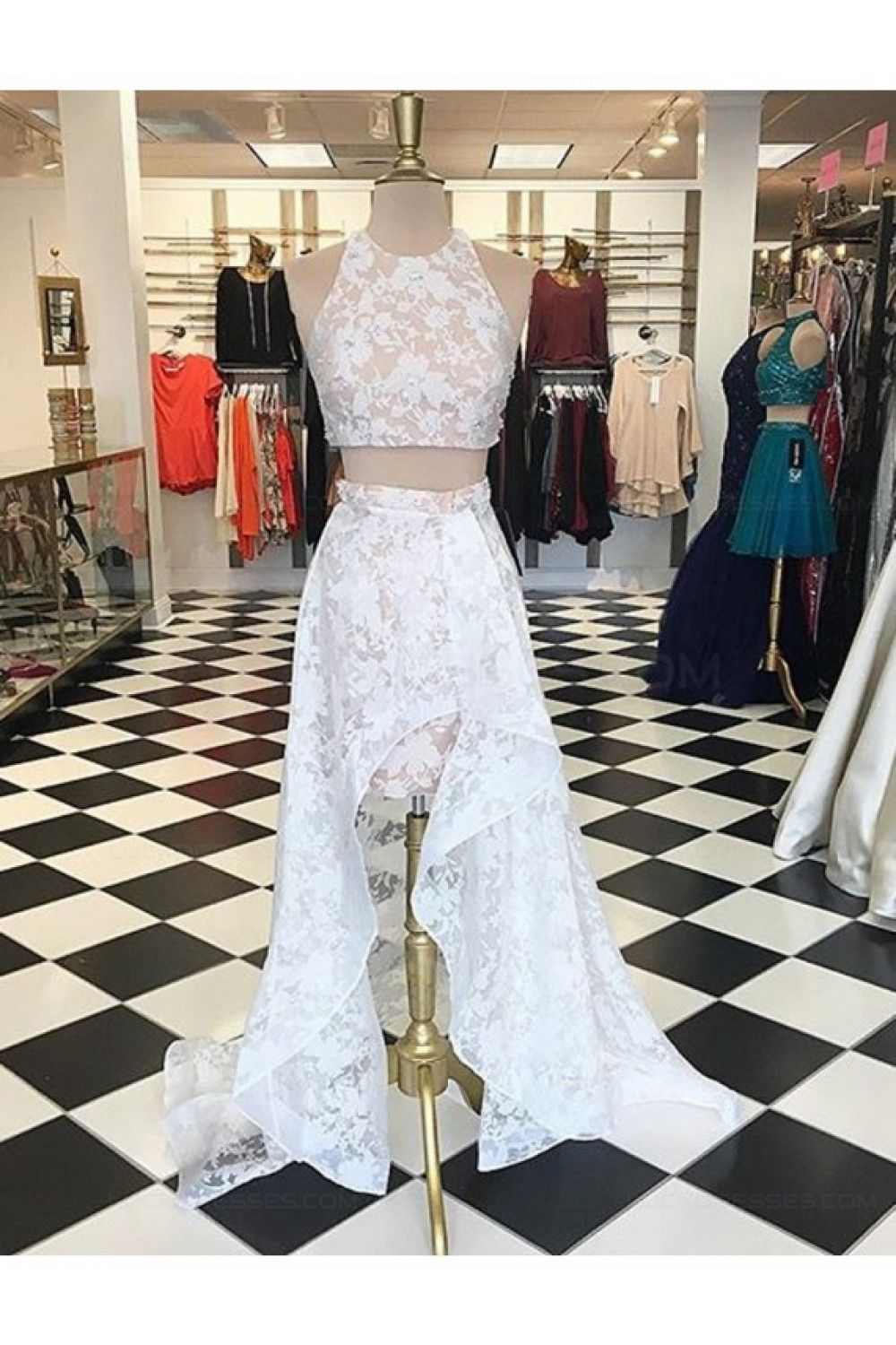 High low two pieces white lace prom dresses party evening gowns