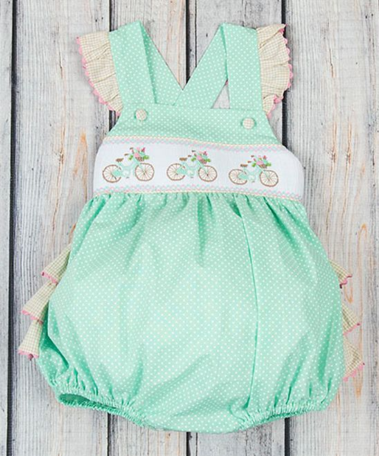 a77c7d704 Mint Dot Bicycle Ruffle Smocked Bubble Romper - Infant   Toddler ...