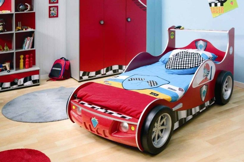 Amazing Kids Bedroom Race Car Theme Boys Room Grey Round Rug Red Wardrobe Blue Yellow Red