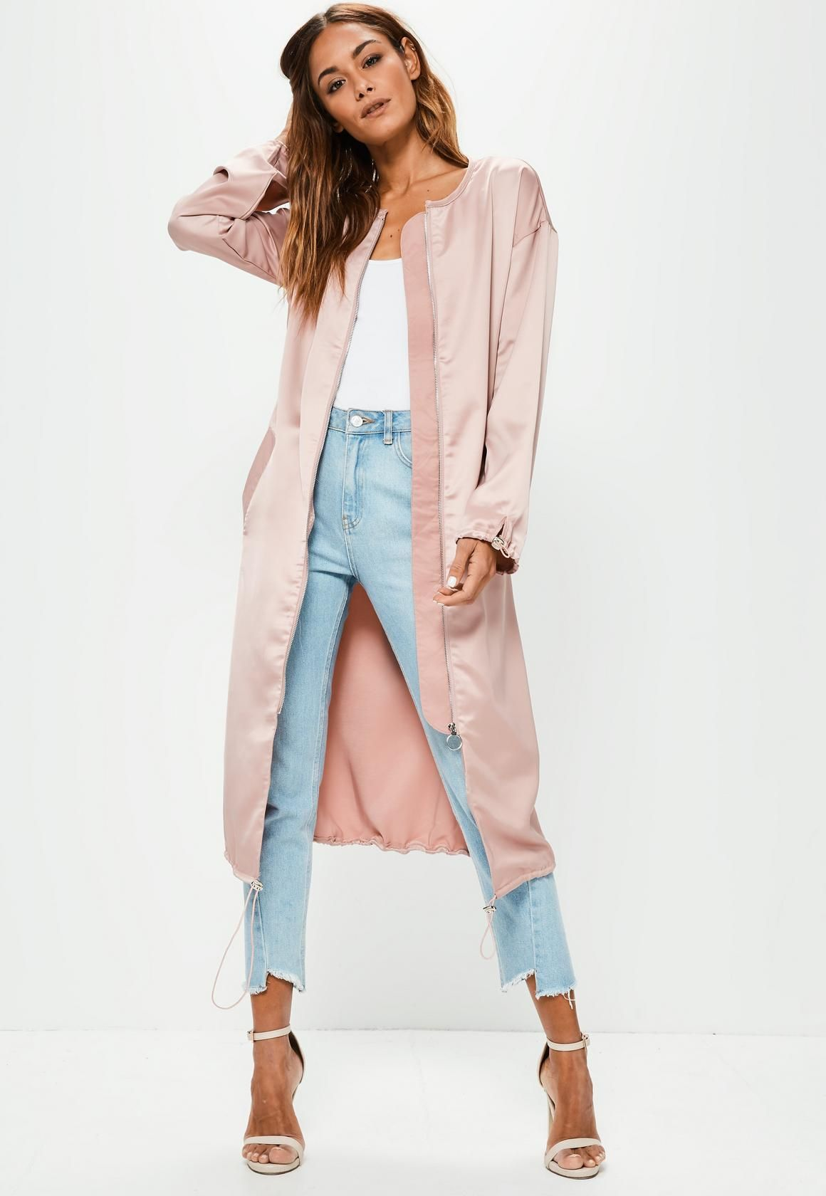 ac6789d8d Missguided - Pink Utility Silky Duster Coat | Style Me in 2019 ...