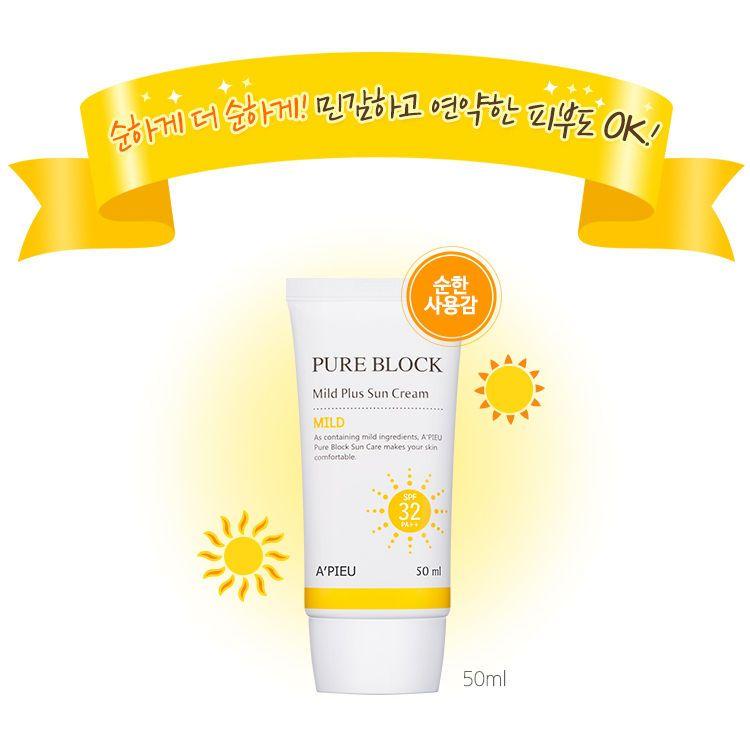 A Pieu Pure Block Mild Plus Cream Spf32 Pa 50ml 1 1 Pcs Uv