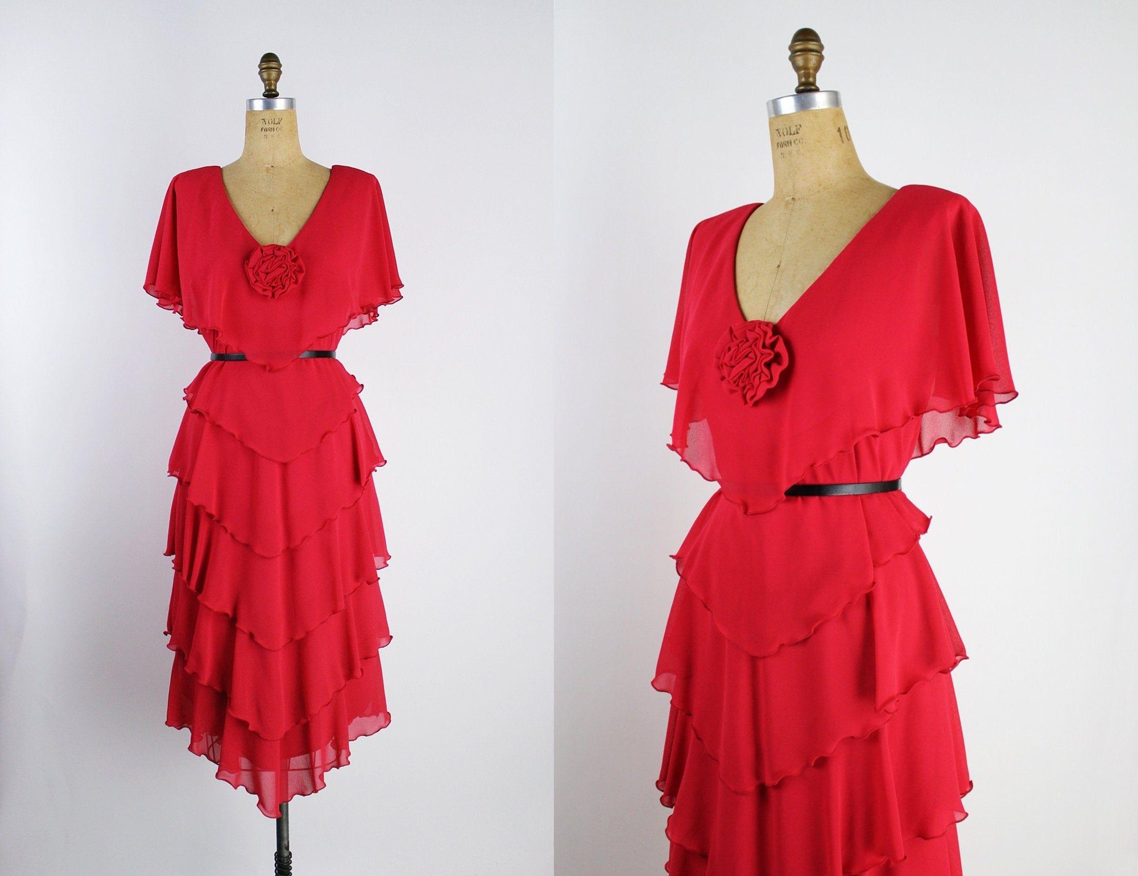 80s Red Ruffle Dress 1980s Dress Party Dress Bohemian Dress Vintage Red Dress Cocktail Dress Size S M Red Cocktail Dress Bohemian Dress Vintage Red Dress [ 1709 x 2219 Pixel ]