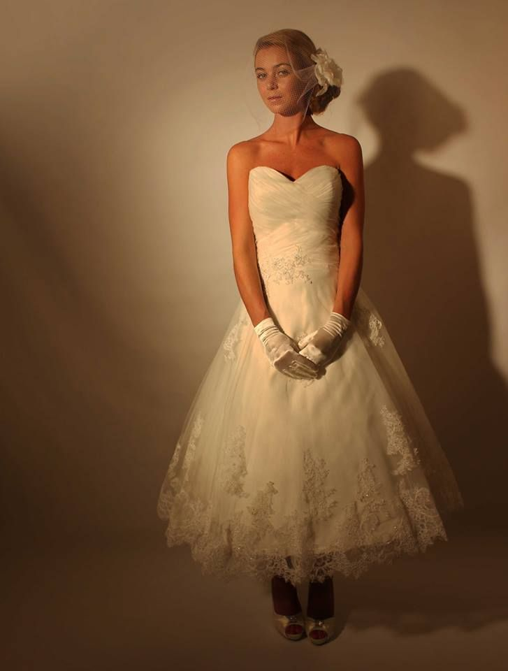 Our stunning Arabella short tea length lace wedding dress in stock  Tel :- Scunthorpe 733675