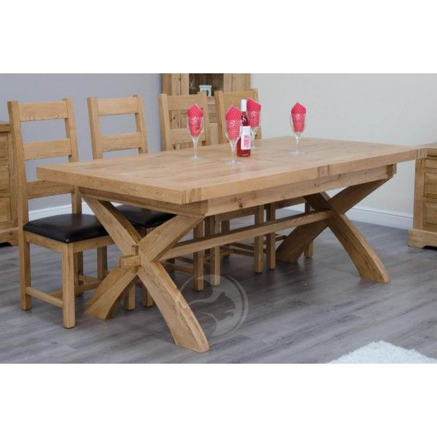 Coniston Rustic Solid Oak X Leg Extending Dining Table In