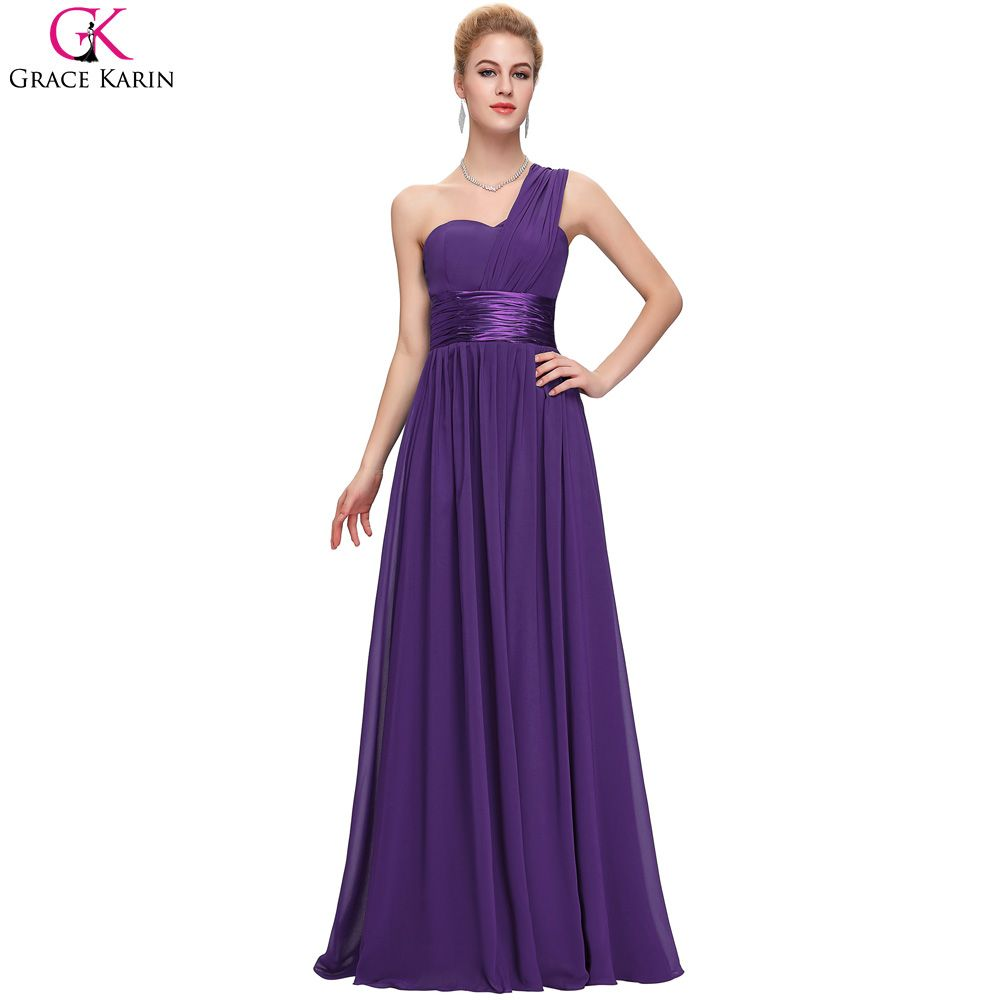 Long chiffon bridesmaid dresses royal blue grace karin bridesmaids
