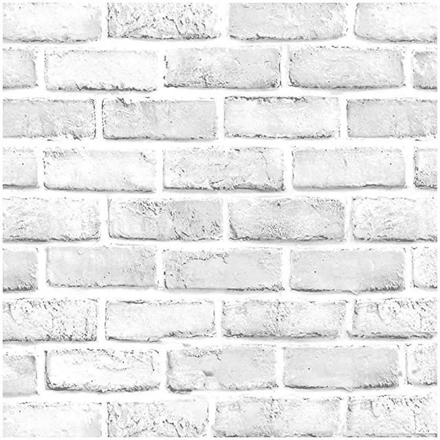 Amazon Com White Brick Wallpaper Stick And Peel Fake Brick Wall Faux Brick Brick Wallpaper