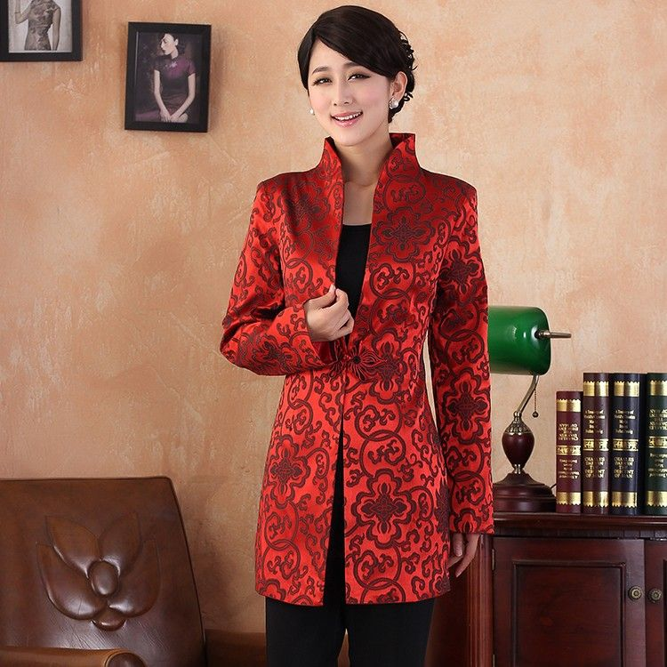 a6f052878 Charming One Frog Button Long Chinese Tang Jacket - Red - Chinese Jackets &  Coats - Women