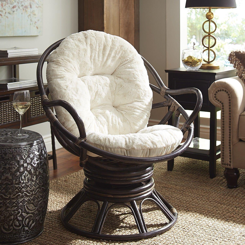 Swivel Rocker Cushion Fuzzy Sand Round Wicker Chair Zebra