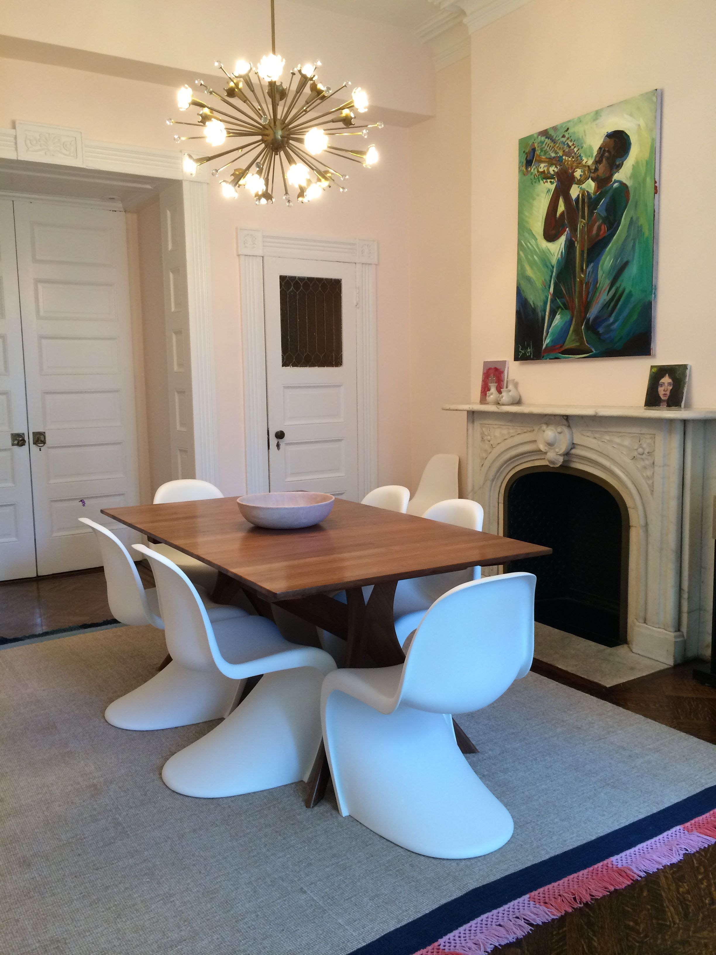 Brooklyn Heights Pink Dining Room With Wood Table, White Panton Chairs And  Jonathan Adler By