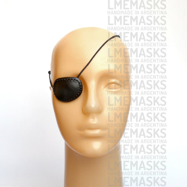 Leather Eye Patch Black Medium Seams Elegant Classic Eye Wear Etsy Eyepatch Black Media Nick Fury Costume