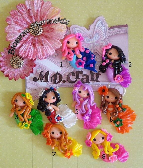 Set of Blossom Mermaid Polymer Clay Charm Bead Scrapbooking Embelishment Bow Center Pendant Cupcake Topper