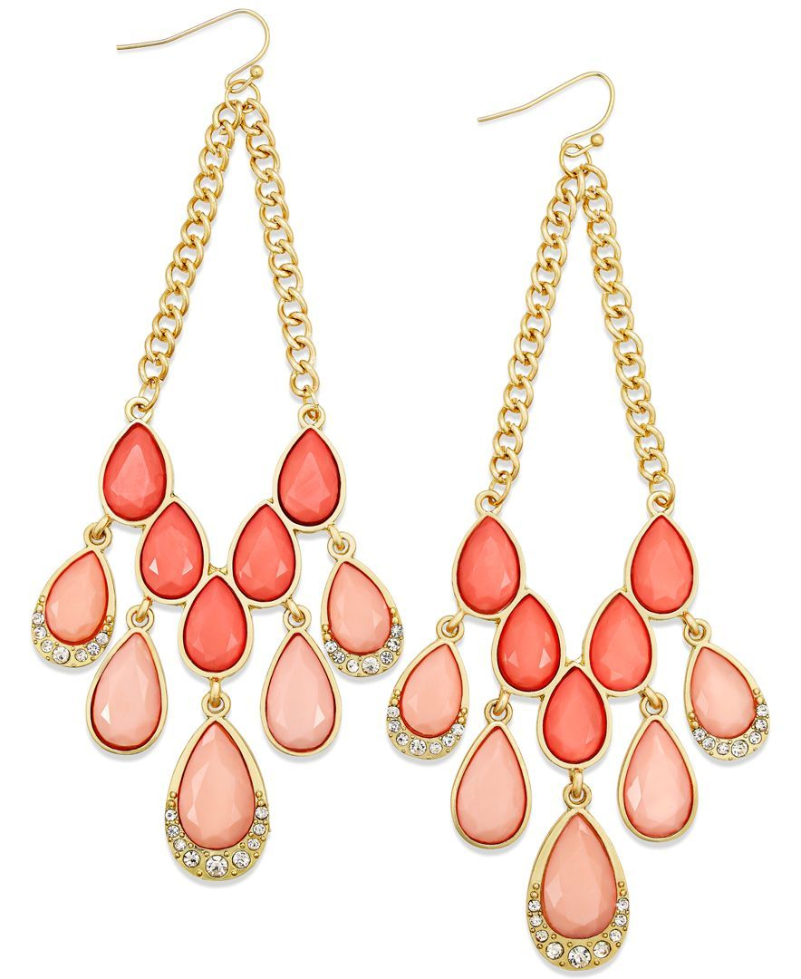 Thalia Sodi GoldTone Coral Stone VShape Chandelier Earrings – Gold Tone Chandelier Earrings