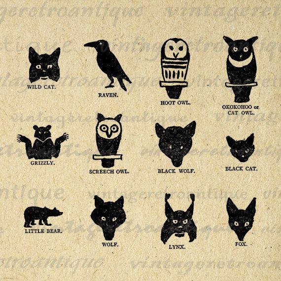 Digital Printable Native American Indian Animal Symbols Graphic ...