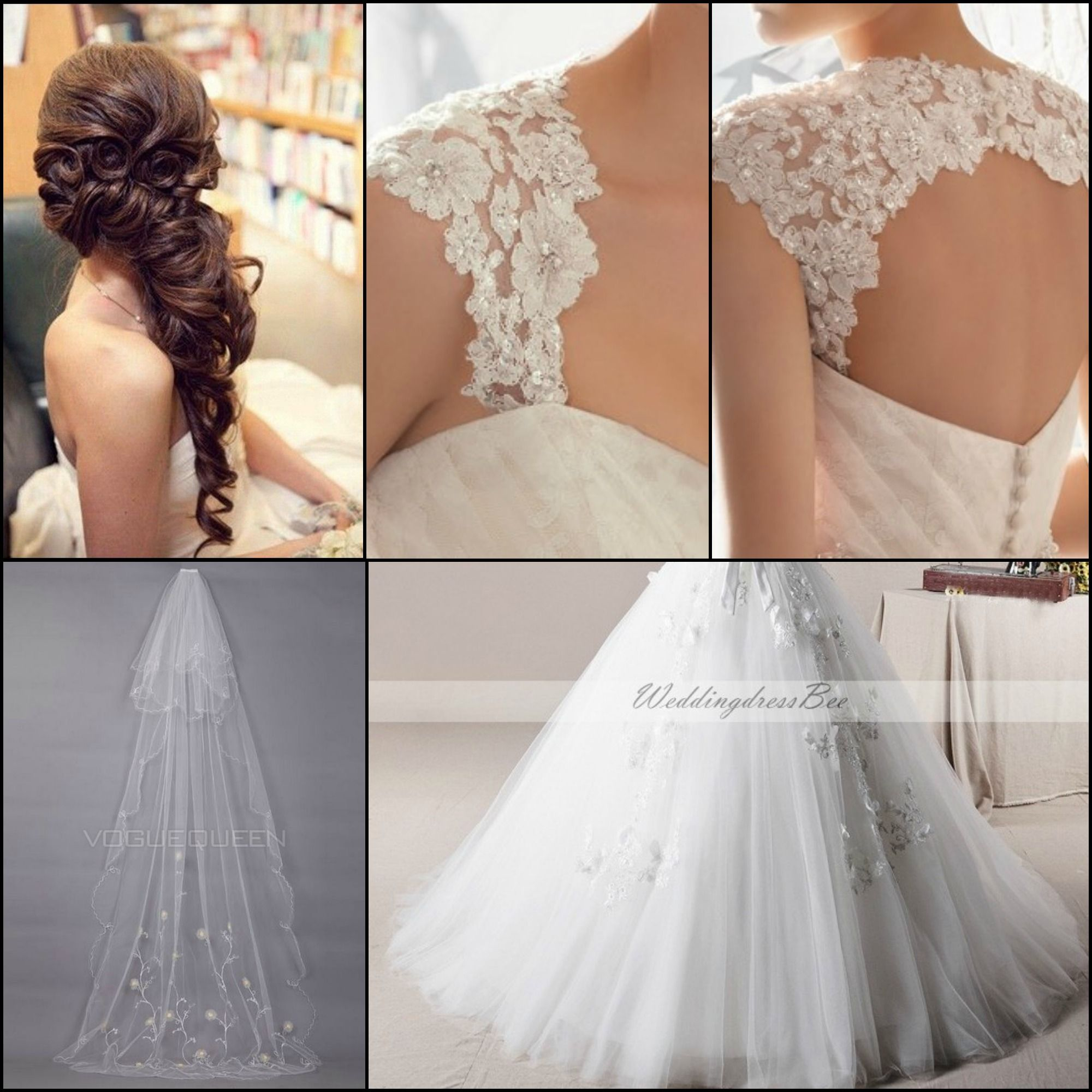 Mixture of wedding dress ideas lace cap sleeves that continue onto