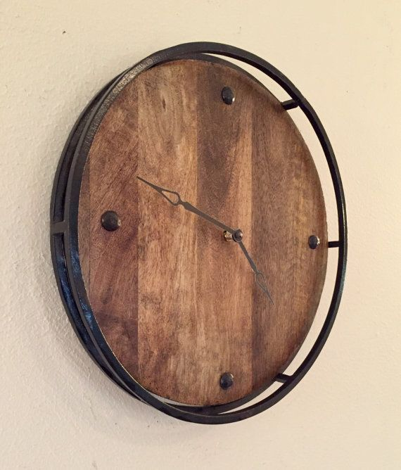 Rustic Kitchen Clock Wood And Metal Wall Clock 14