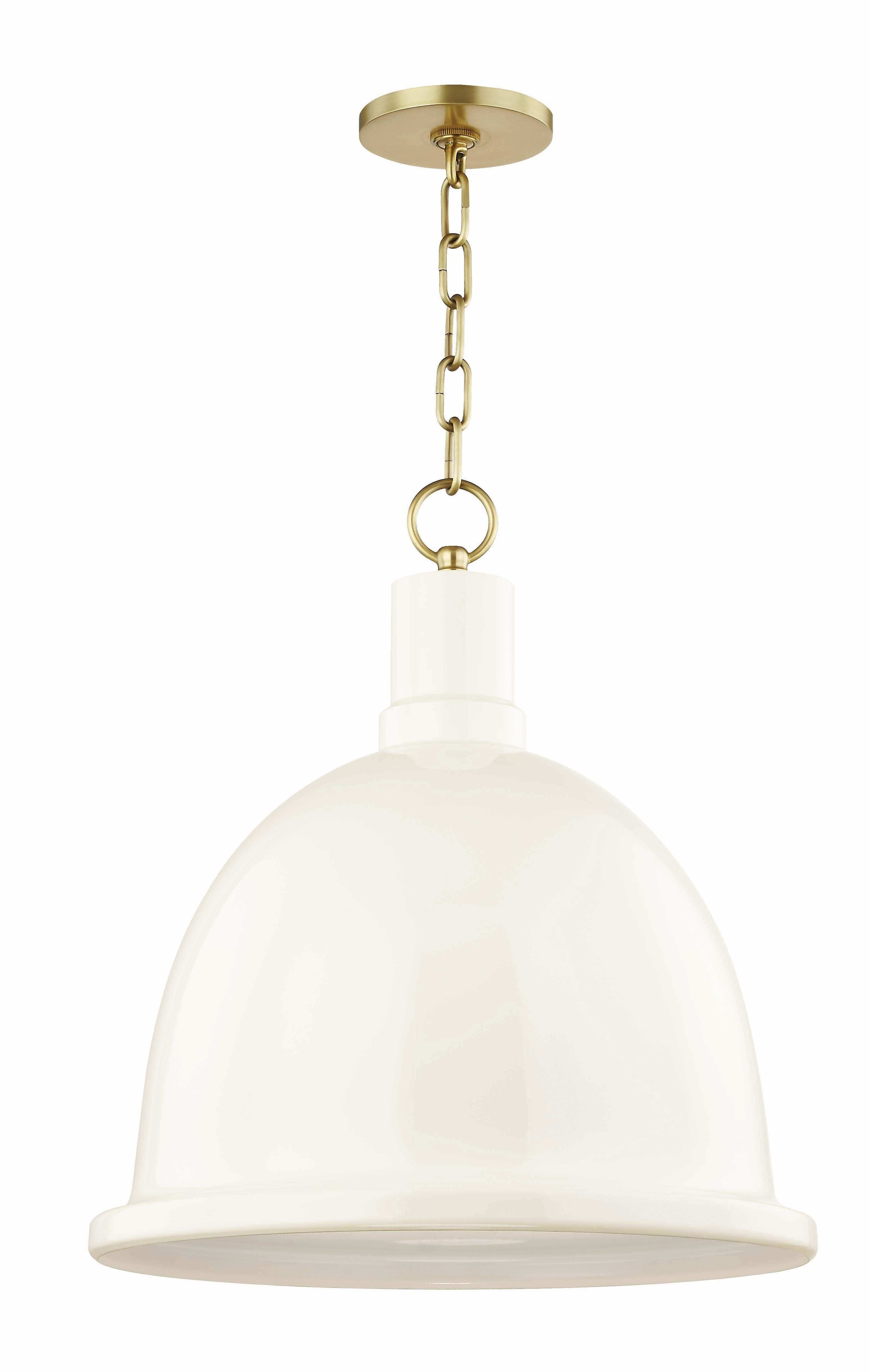 Baza Pendant Aged Brass And Cream Pendant Lamp Dome Pendant Lighting Brass Pendant Light