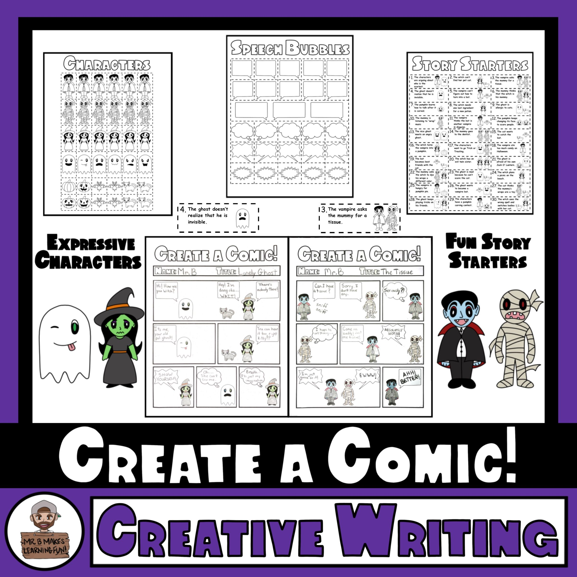 Halloween Comic Strip Writing Templates Characters And